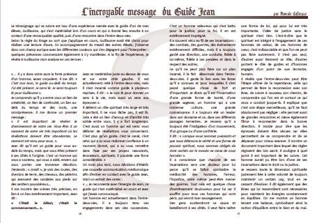 L'incroyable message du Guide Jean